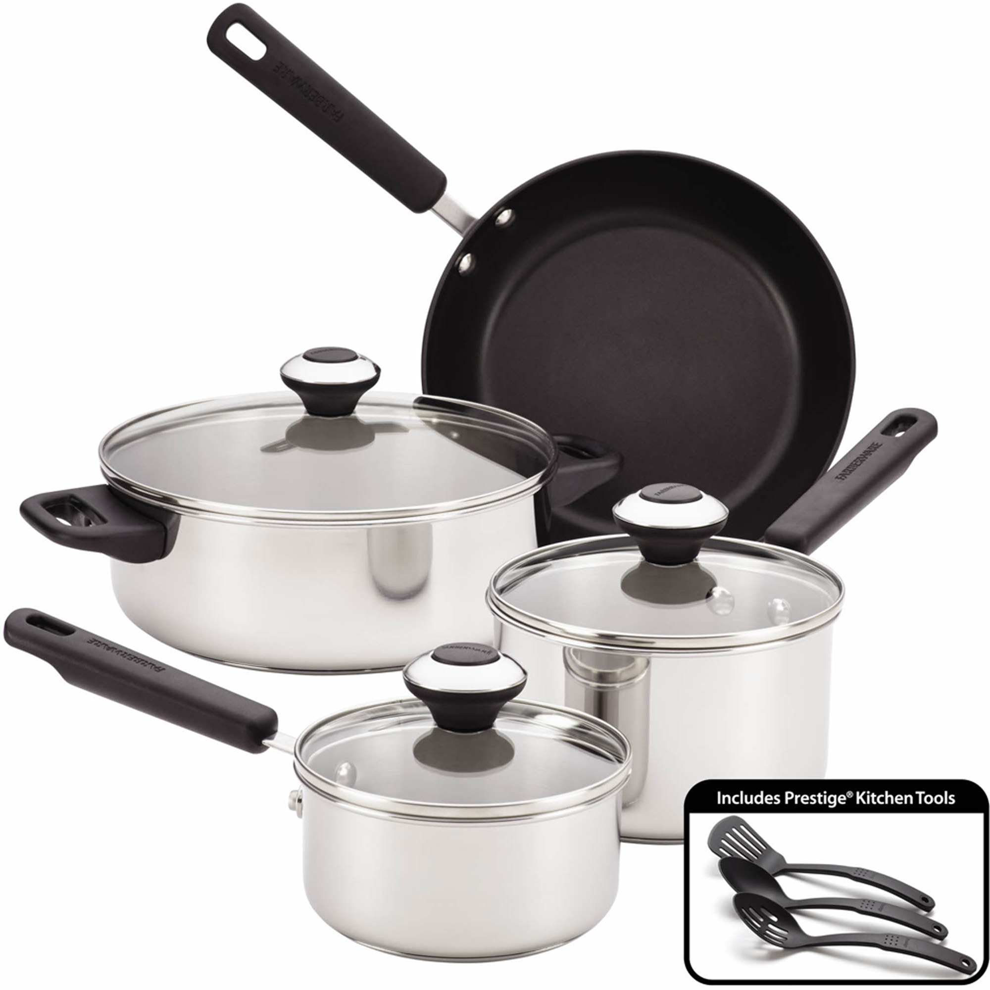 Farberware 10-Piece Induction Cookware Set, Stainless Steel