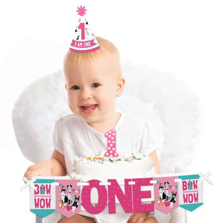 Pawty Like a Puppy Girl 1st Birthday - First Birthday Girl Smash Cake Decorating Kit - High Chair Decorations