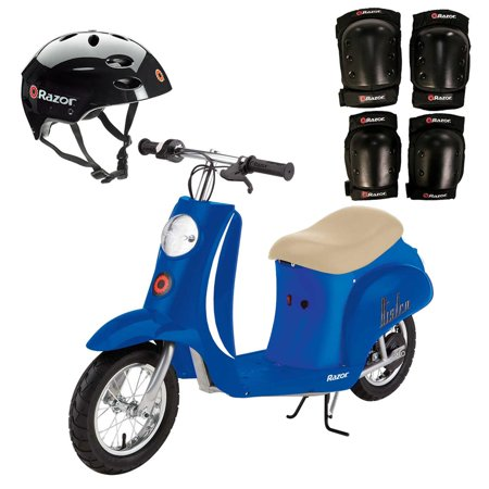 Razor Pocket Mod Electric Scooter + Youth Helmet + Elbow & Knee Pad Safety