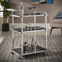 Weston Home Nicole Chrome Finish Black Tempered Glass Metal Bar Cart