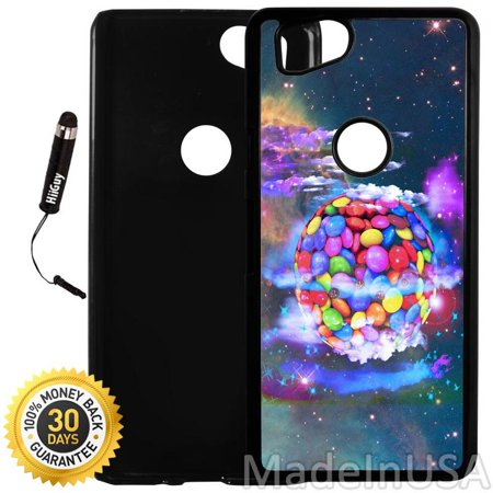 Custom Google Pixel 2 Case (Colorful Candy Planet) Plastic Black Cover Ultra Slim | Lightweight | Includes Stylus Pen by