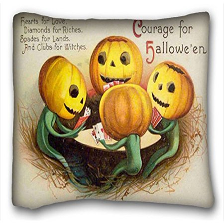 Play Halloween Pumpkins Game (WinHome Cushion Cover Throw Pillow Case Retro Vintage Halloween Pumpkin Lantern Play Poker Card Game Funny Image Zipper Sofa Size 18x18 Inches Two)