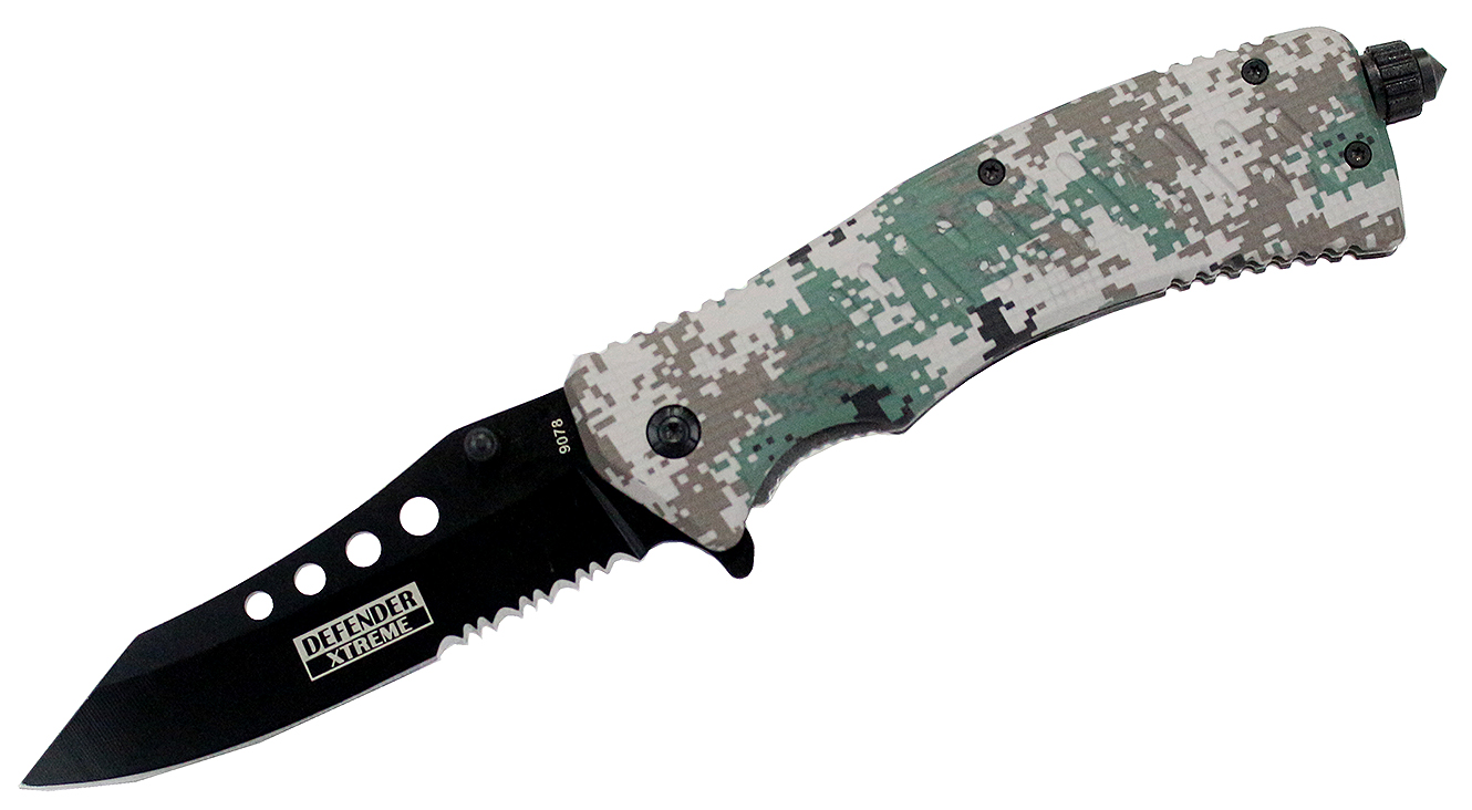 "Click here to buy High Quality 9"" Defender Xtreme Spring Assisted Knife Fire Starter Digital Camo by Defender Xtreme."
