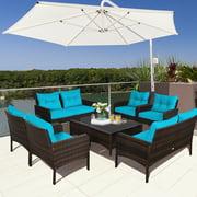 Gymax 8PCS Rattan Patio Conversation Set Cushioned Outdoor Furniture Set