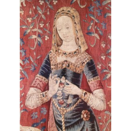 Lady and the Unicorn - Sense of Smell (Detail) 15th Century Tapestry (Flemish) Musee National du Moyen Age Thermes & Hotel de Cluny Paris France Canvas Art -  (18 x 24)