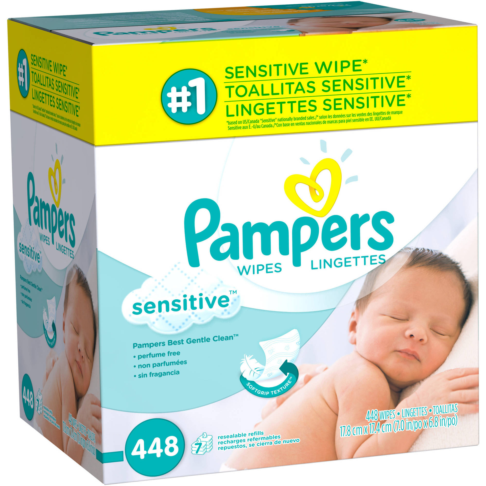 Pampers Sensitive Baby Wipes Refills, 448 sheets