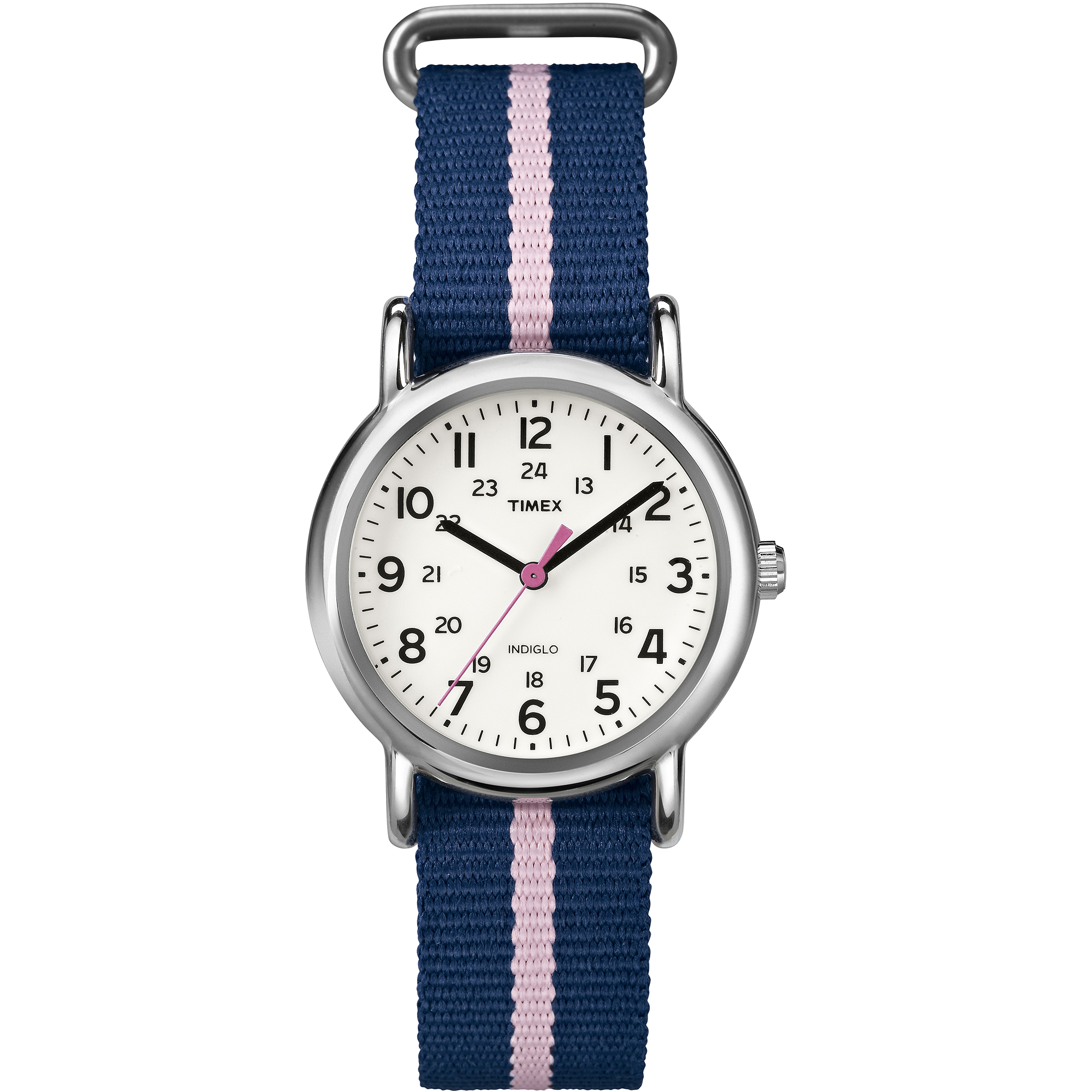 Timex Women's Weekender Watch, Blue and Pink Nylon Strap