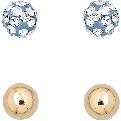 Luminesse 18kt Gold over Sterling Silver Plain and Light-Blue Earrings Set made with Swarovski Elements