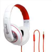 Over The Ear Stereo Kids Mobile Wired Headphone with in-Line Microphone Headphone Black Red
