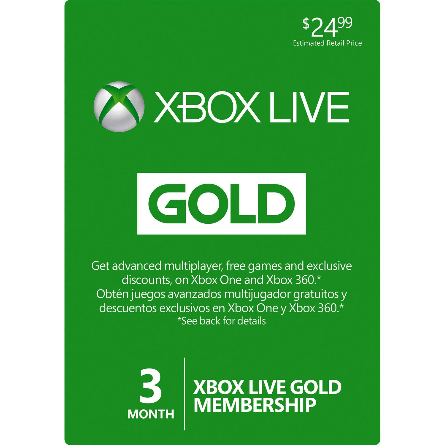 3 Month Microsoft Xbox One & Xbox 360 LIVE Gold Membership Card Subscription