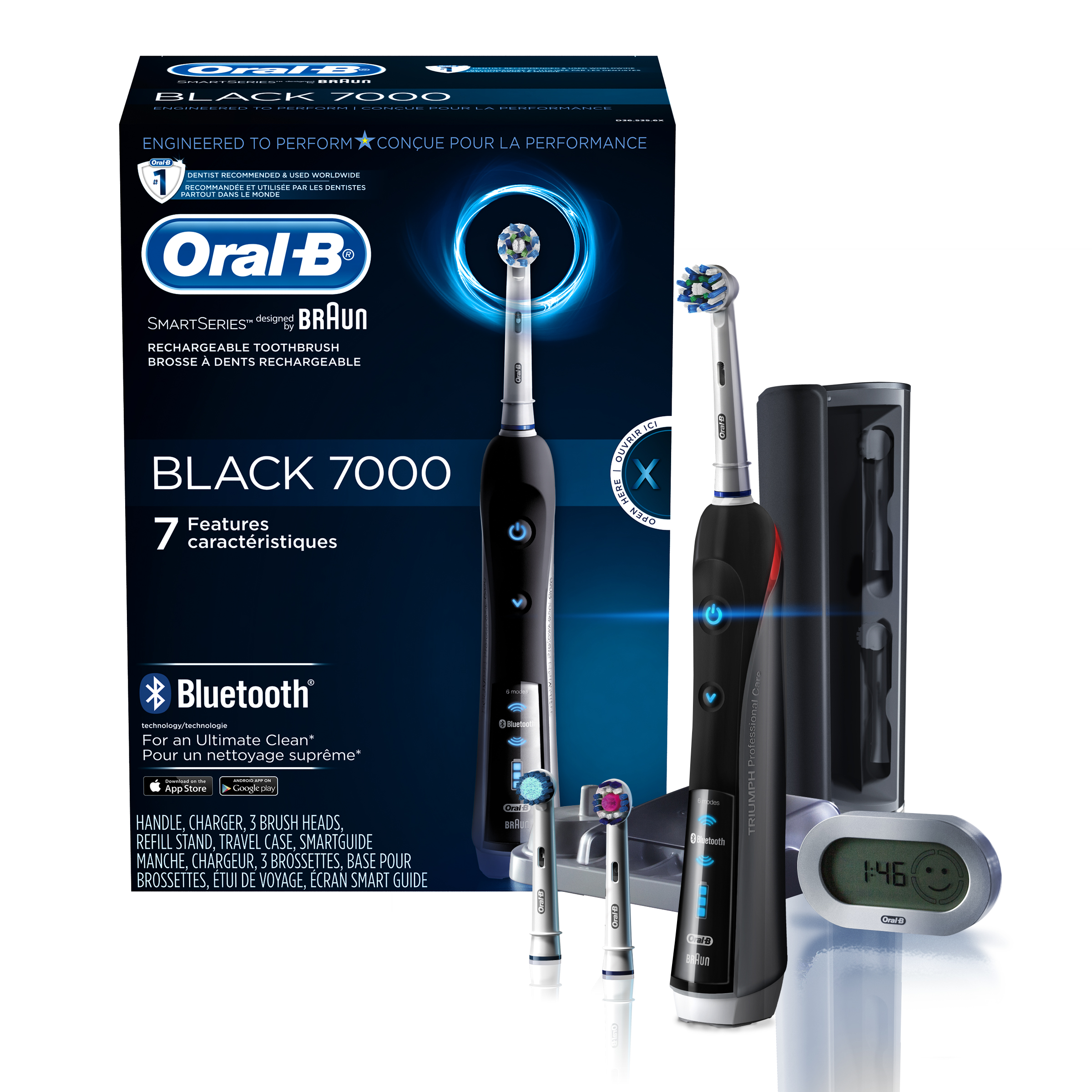 Oral-B 7000 ($25 Rebate Available) SmartSeries Rechargeable Power Electric Toothbrush with 3 Replacement Brush Heads, Bluetooth Connectivity and Travel Case, Black, Powered
