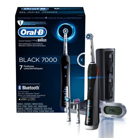 Little Black Travel Case - Oral-B 7000 ($25 Rebate Available) SmartSeries Rechargeable Power Electric Toothbrush with 3 Replacement Brush Heads, Bluetooth Connectivity and Travel Case, Black, Powered
