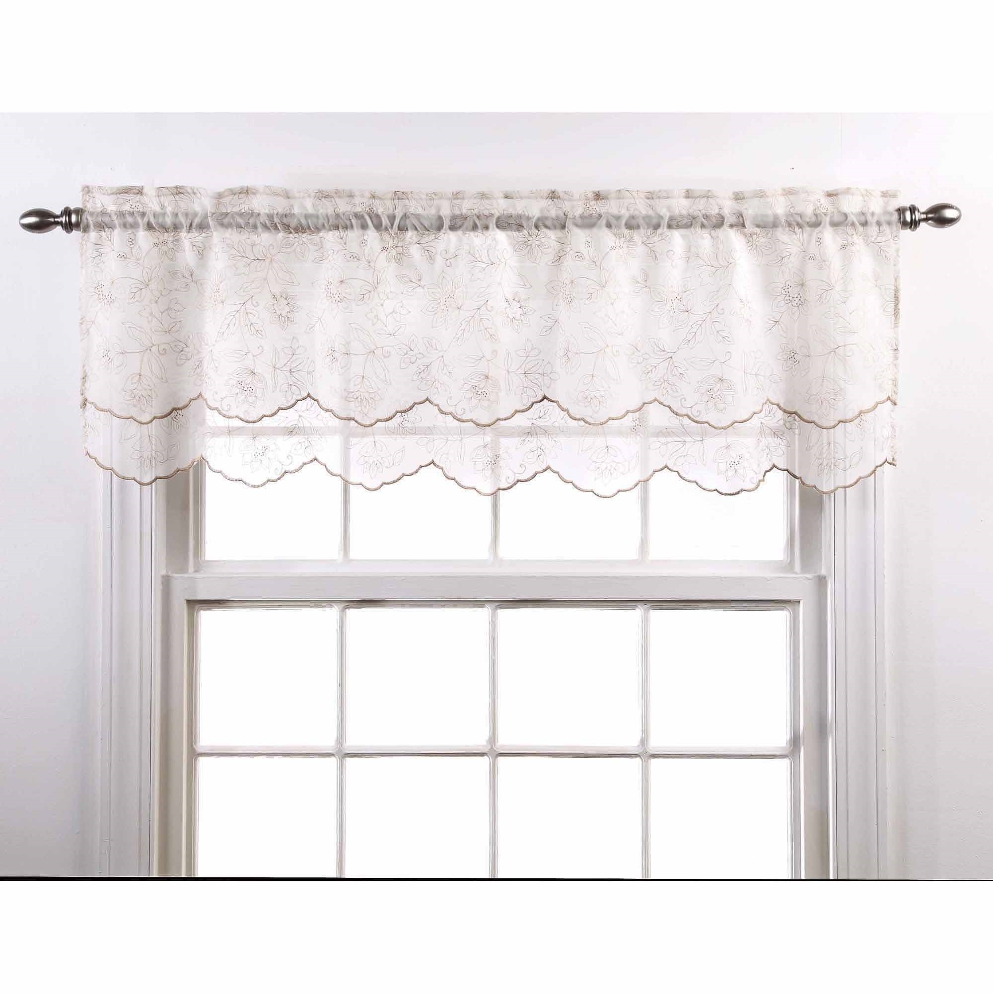 "Reese Embroidered Sheer Layered Valance, 55"" x 17"