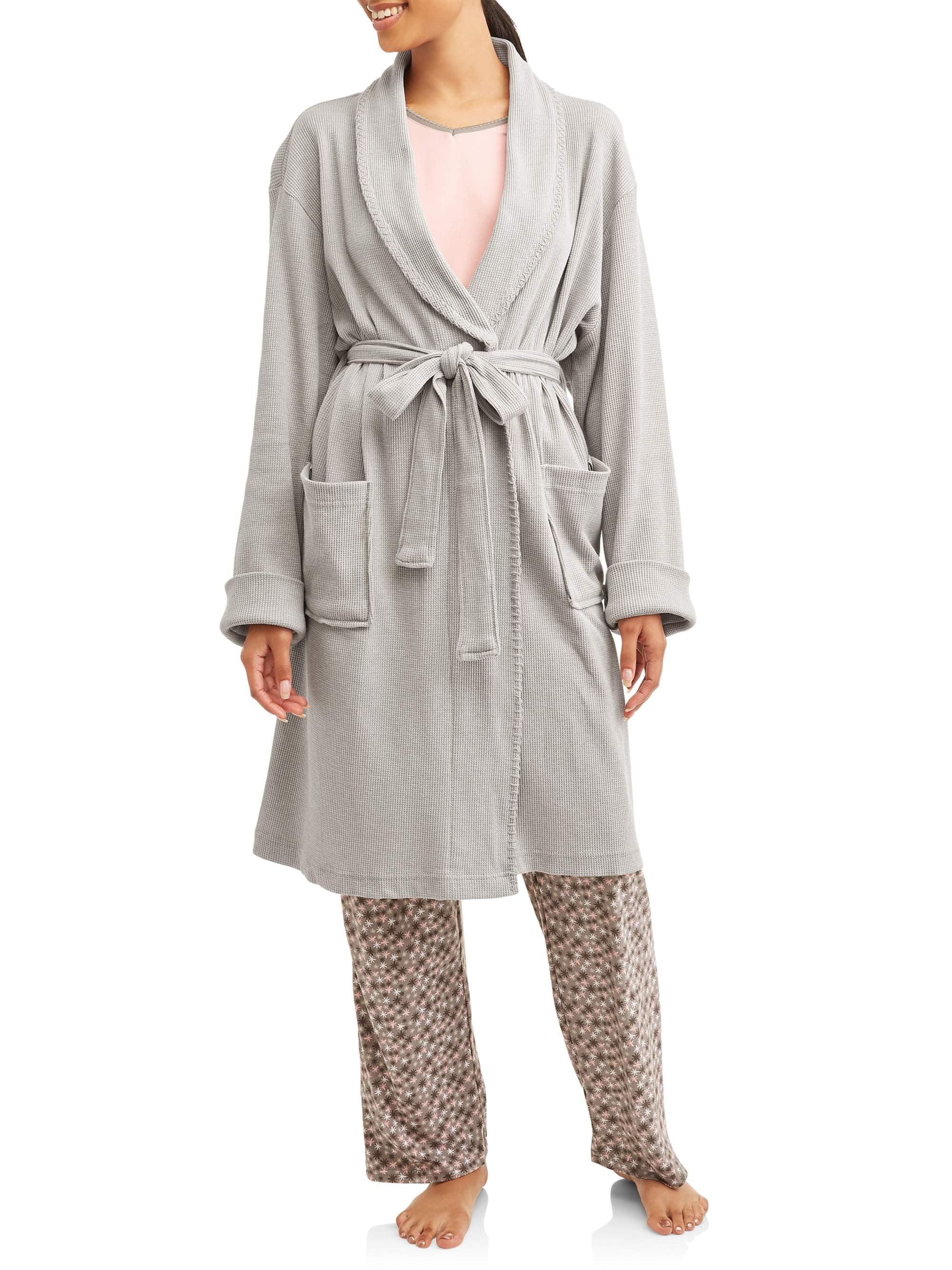 Etymology Women S Jersey Knit Waffle Weave Robe