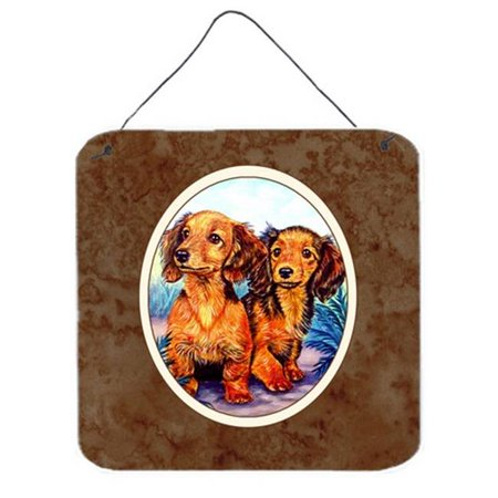 Long Hair Red Dachshund Two Peas Wall or Door Hanging Prints ()