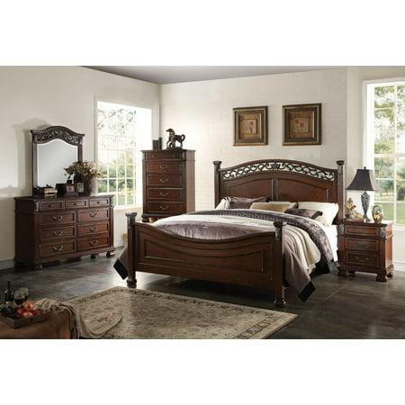 Acme Furniture 22767EK Manfred Dark Walnut Poster King Bedroom Set 5 Pcs