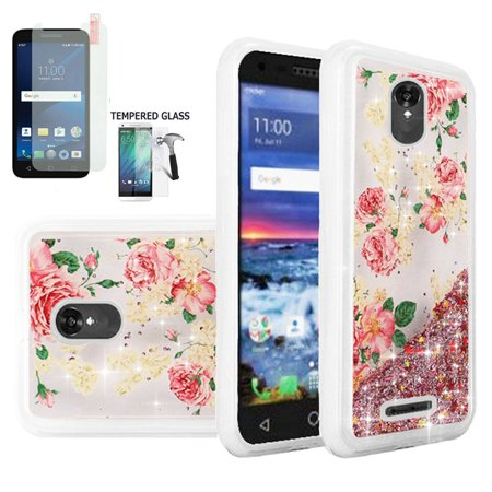 Phone Case for Alcatel Raven A574BL, Alcatel Verso, Alcatel IdealXcite,  Alcatel Cameo-X Tempered Glass Screen with Cover (Liquid Quicksand  Rose-Clear