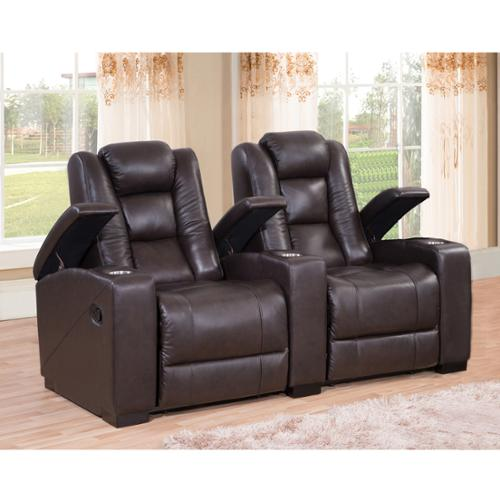 Sofaweb.com Weston Two Seat Brown Top Grain Leather Recliner Home Theater Seating Set  sc 1 st  Walmart & Home Theater Recliner islam-shia.org
