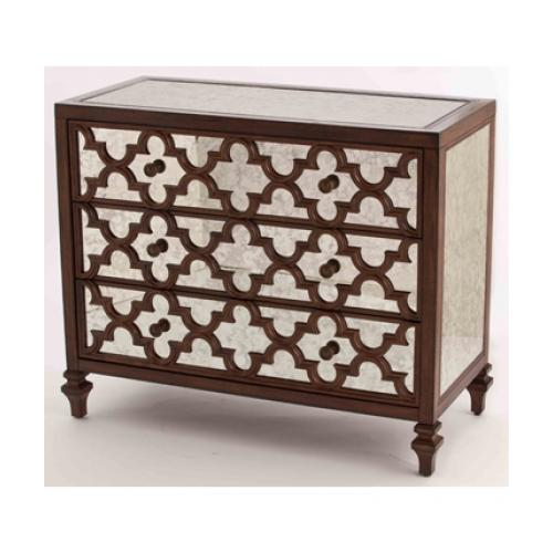 "Ambella  30005-830-001 Casablanca 41"" Chest of Drawers with Mirrored Surface  Carved Wood Detailing  and Metal"