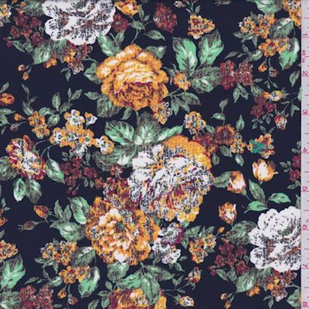 Dark Navy Tapestry Floral Print Crepe de Chine, Fabric By the Yard (Floral Tapestry Fabric)