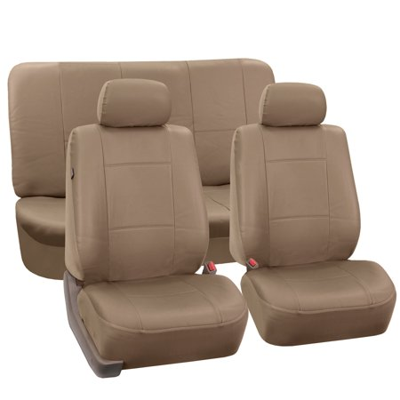 FH Group Faux Leather Airbag Compatible and Split Bench Car Seat Covers, Full Set, Tan
