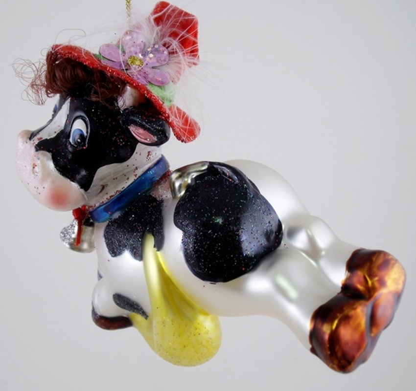 Cow Jumped Over Moon Nursery Rhyme Glass Christmas Holiday Ornament