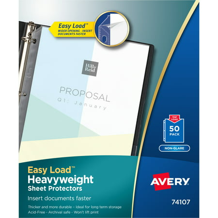 Avery Nonglare Heavyweight Sheet Protectors, 50 Protectors (74107)