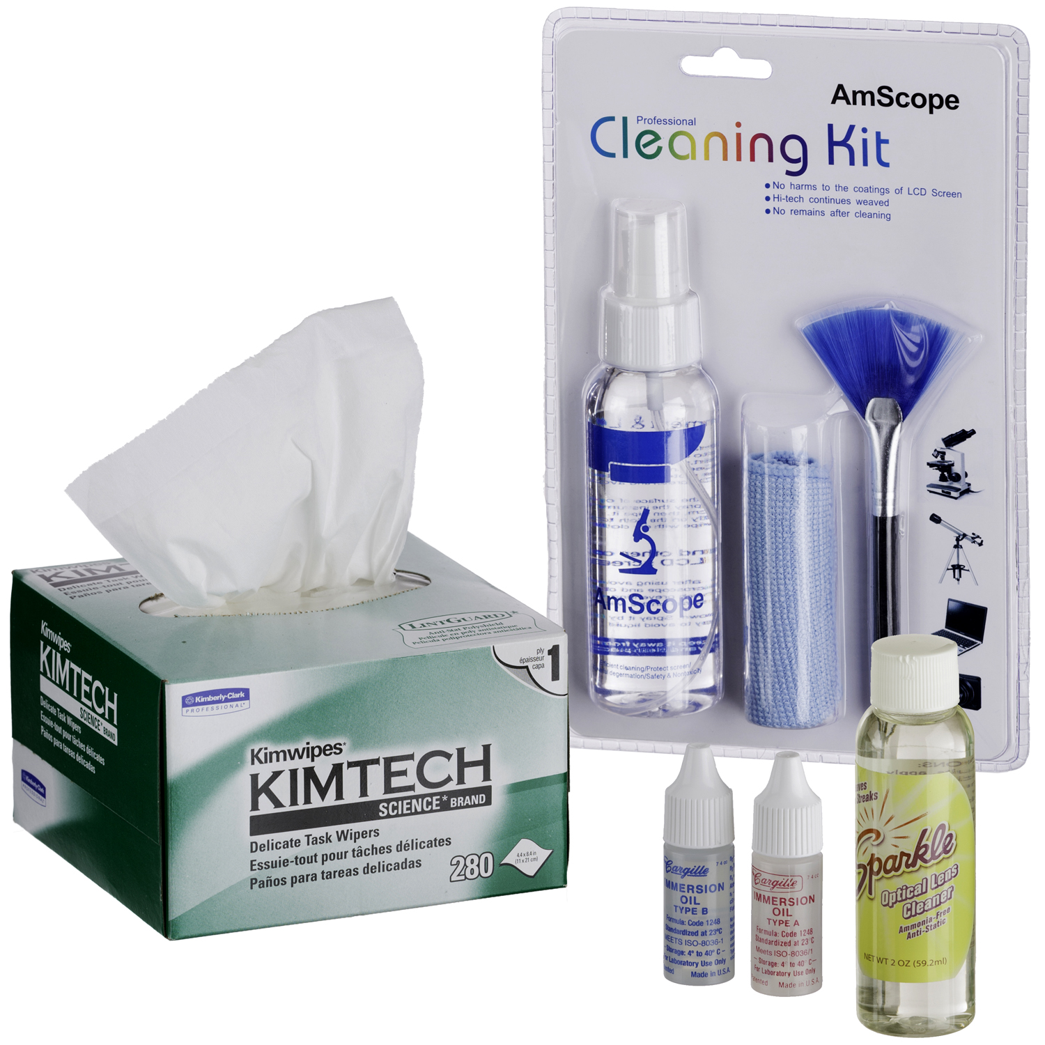 AmScope Microscope Operation and Maintenance Kit Immersion Oil & Cleaning Package by United Scope