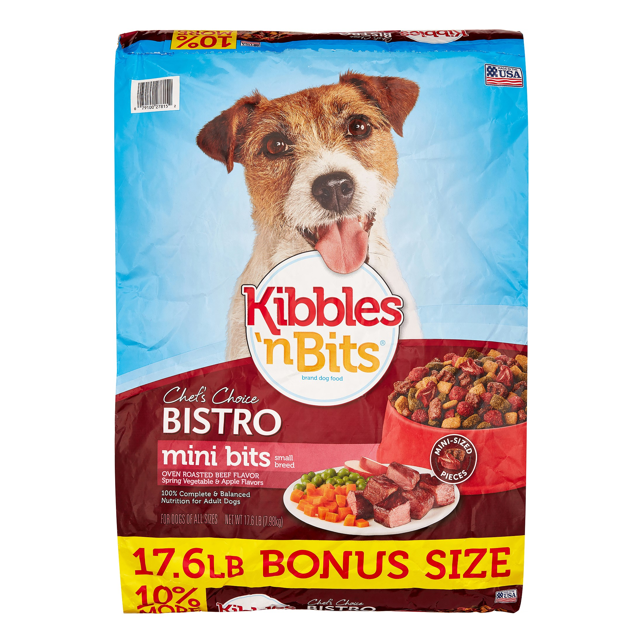Kibbles 'n Bits Bistro Mini Bits Oven Roasted Beef, Vegetable & Apple Small Breed Bonus Bag Dry Dog Food, 17.6 Lb