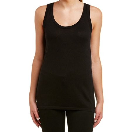 Anne Klein NEW Deep Black Womens Size Medium M Stretch Knit Tank Top Black Crinkle Tank Top
