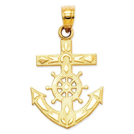14k Gold Mariners Cross - 14kt Yellow Gold Nautical Anchor Ship Wheel Mariners Cross Religious Pendant Charm Necklace Sea Shore Fine Jewelry Ideal Gifts For Women Gift Set From Heart