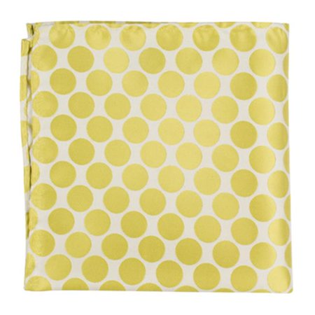 XY23 PS - 12 x 12 in  Matching Pocket Square - White With Yellow & Green  Polka Dots