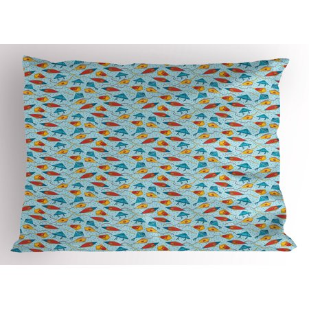 Kites Pillow Sham, Fish Kites with Scales and Stripes on Blue Toned Bubbles Background Fantastic Design, Decorative Standard Queen Size Printed Pillowcase, 30 X 20 Inches, Multicolor, by Ambesonne ()