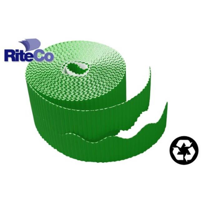 RiteCo Raydiant 22811 Riteco Trim-It Corrugated Scalloped Decorative Border. Two .25 In. X 50 Ft. Strips Per Roll Holly Green, 6 Rolls