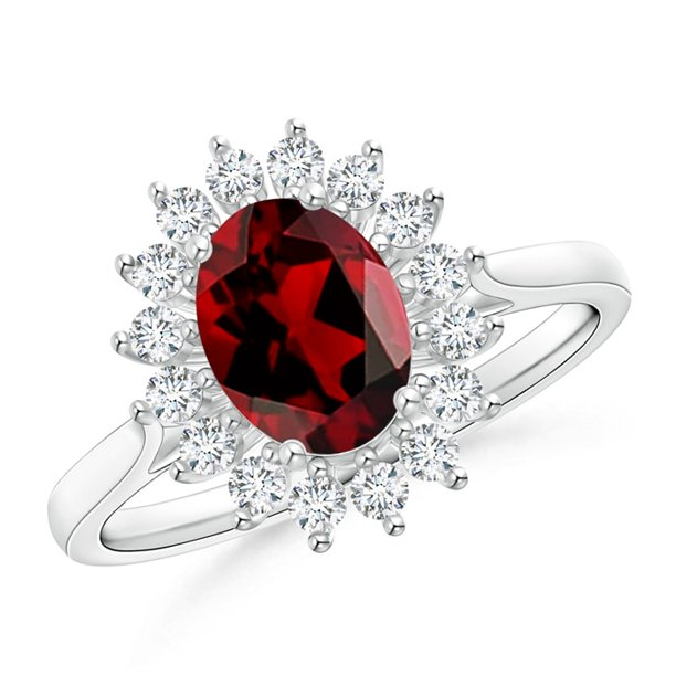 Valentine Jewelry Gift - Oval Garnet Ring with Floral Diamond Halo in 14K White Gold (8x6mm Garnet) - SR1048GD-WG-AAAA-8x6-3.5