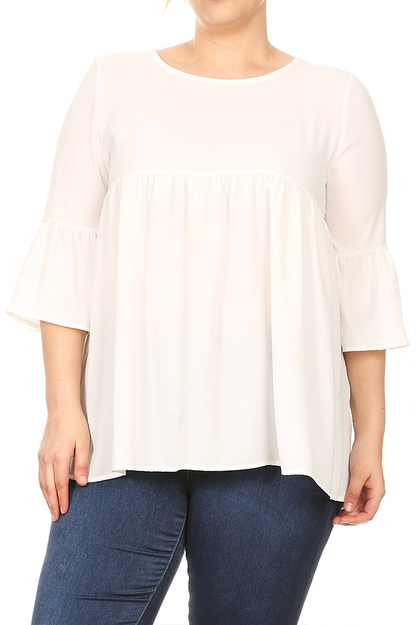 Women's Plus Size Solid Babydoll Tunic