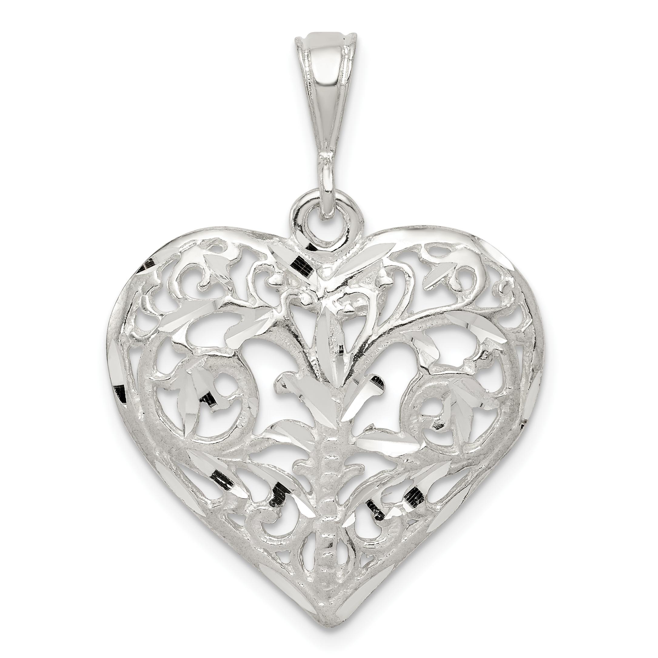 925 Sterling Silver Filigree Heart Pendant Charm Necklace Love Fine Jewelry Gifts For Women For Her - image 2 de 2