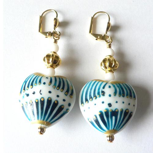 Palmtree Gems Elena' Glass Heart Earrings