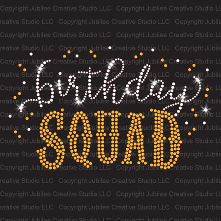Birthday Squad Iron On Rhinestone & Gold Rhinestud Transfer - Halloween Rhinestone Transfers