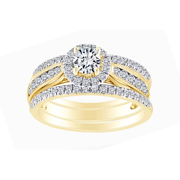 1 Cttw Womens Round Natural Diamond 3-Piece Bridal Wedding Engagement Ring Band Set 14kt Solid Yellow Gold (I-J Color, I2-I3 Clarity, 1 Carat) Ring Size-10.5