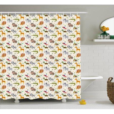 Baby Shower Curtain, Exotic Giraffe Lion African Zebra Funny Elephant Monkey Crocodile Nursery Cartoon, Fabric Bathroom Set with Hooks, 69W X 70L Inches, Multicolor, by Ambesonne (Giraffe Nursery Decor)