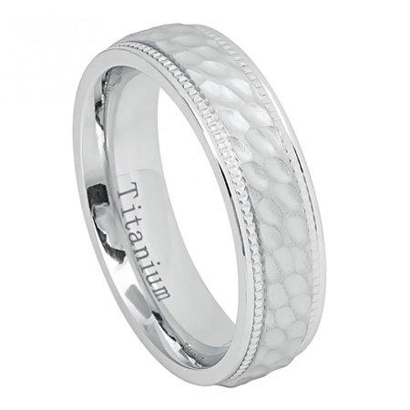 6mm Titanium White IP Brushed Dimpled Center Milgrained Edges Wedding Band Ring For Men Or (Gold Milgrained Edge)