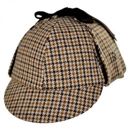 Sherlock Holmes Houndstooth Wool Blend Hat - XXL - Brown - Sherlock Homes Hat