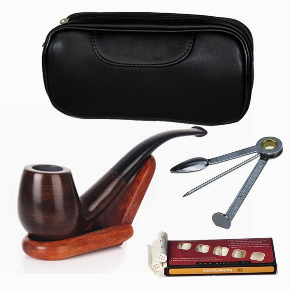 Peralng Tobacco Smoking Pipe Ebony Smoking Pipe kit tobacco pipe tool with tobacco pipe accessories - 10 Filter Element + Scraper + High Grade Pipe Pouches