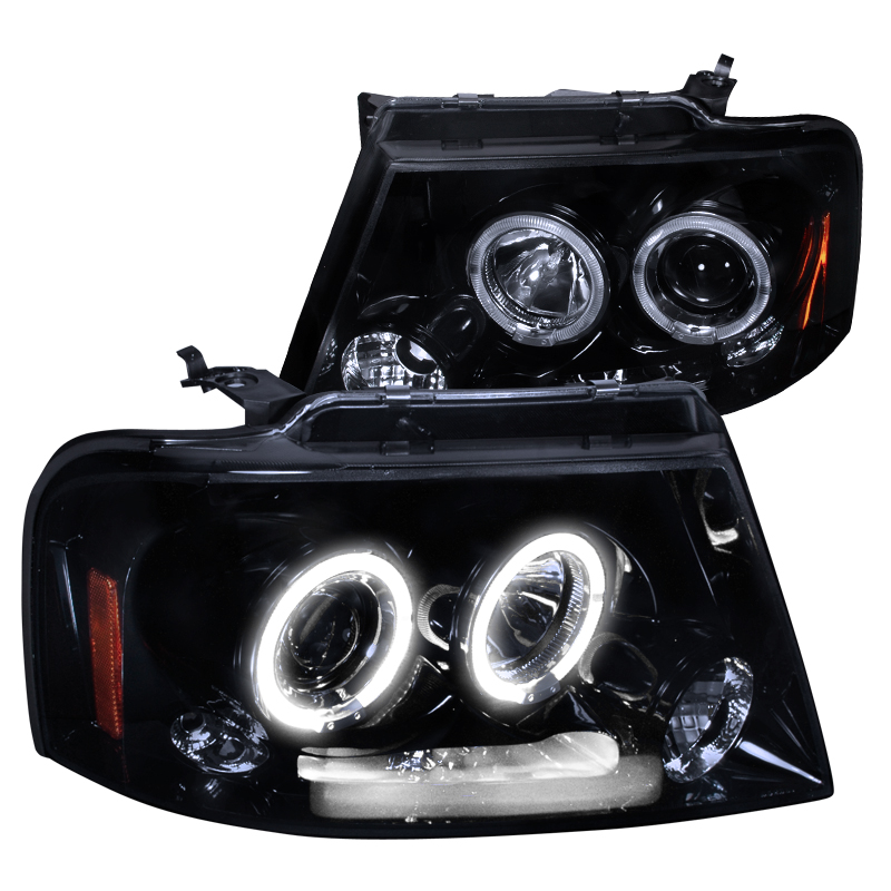 Spec-D Tuning 2004-2008 Ford F150 Twin Halo Rims Projector Led Headlights 04 05 06 07 08 (Left + Right)
