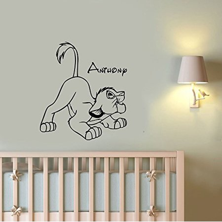 Simba Boy Name Vinyl Wall Sticker Personalized Decal Lion King Art Housewares Decorations For Home Kids