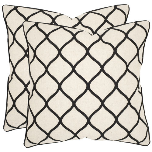 "Safavieh Eliza 18"" x 18"" Black Pillow, Set of 2"