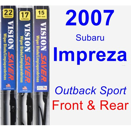 2007 Subaru Impreza (Outback Sport) Wiper Blade Set/Kit (Front & Rear) (3 Blades) - Vision (2007 Subaru B9 Tribeca Wiper Blade Replacement)