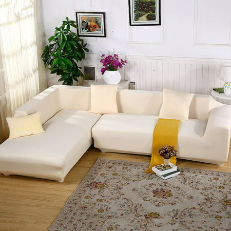 Sofa Covers for L Shape, 2pcs Polyester Fabric Stretch Slipcovers + 2pcs Pillow Covers for Sectional sofa L-shape Couch - Solid Color Beige ()