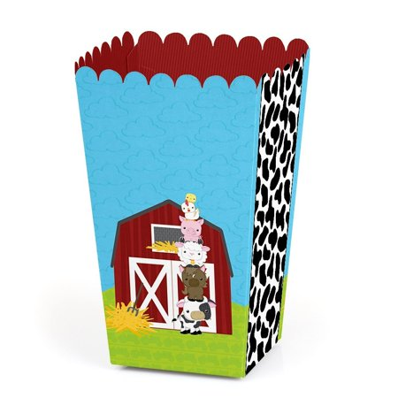 Farm Animals - Baby Shower or Birthday Party Popcorn Favor Boxes - Set of 12 (Farm Party Favors)